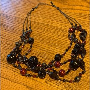 Jewelry - 💥4/$10💥Dark Red/Black Bead MultiStrand Necklace